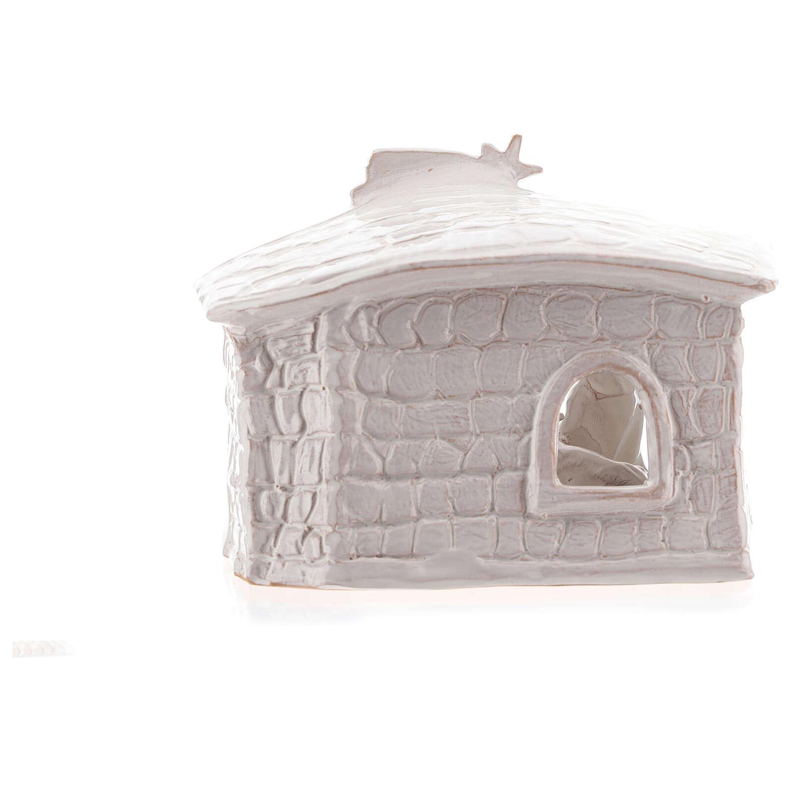 Cabane Nativité mur en pierre terre cuite Deruta blanche 20 cm 4
