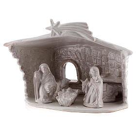 Cabane Nativité mur en pierre terre cuite Deruta blanche 20 cm s2
