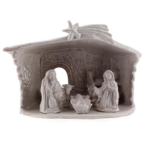 Cabane Nativité mur en pierre terre cuite Deruta blanche 20 cm 1
