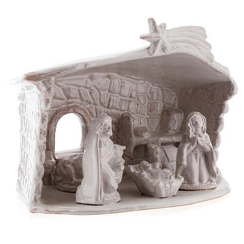 Cabane Nativité mur en pierre terre cuite Deruta blanche 20 cm 3