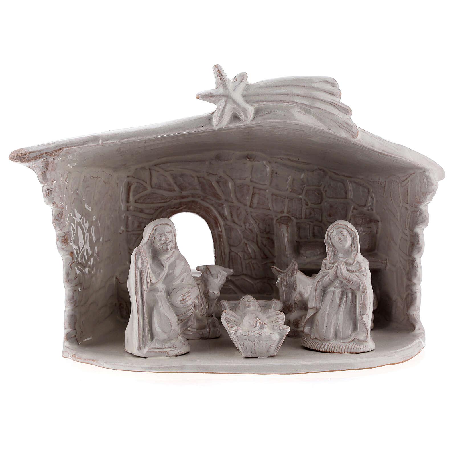 Nativity stable with stone walls white Deruta terracotta 20 cm 4