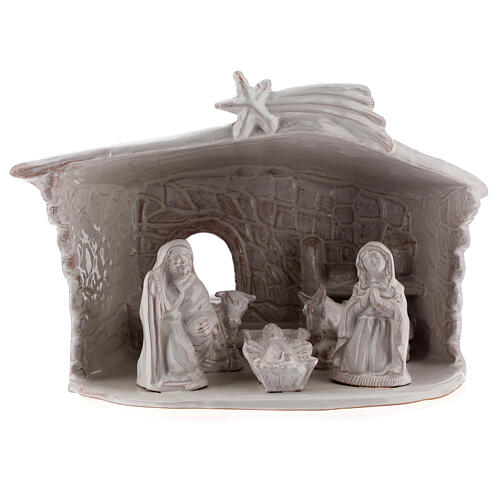 Nativity stable with stone walls white Deruta terracotta 20 cm 1