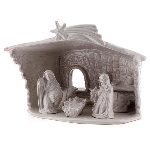 Nativity stable with stone walls white Deruta terracotta 20 cm 2