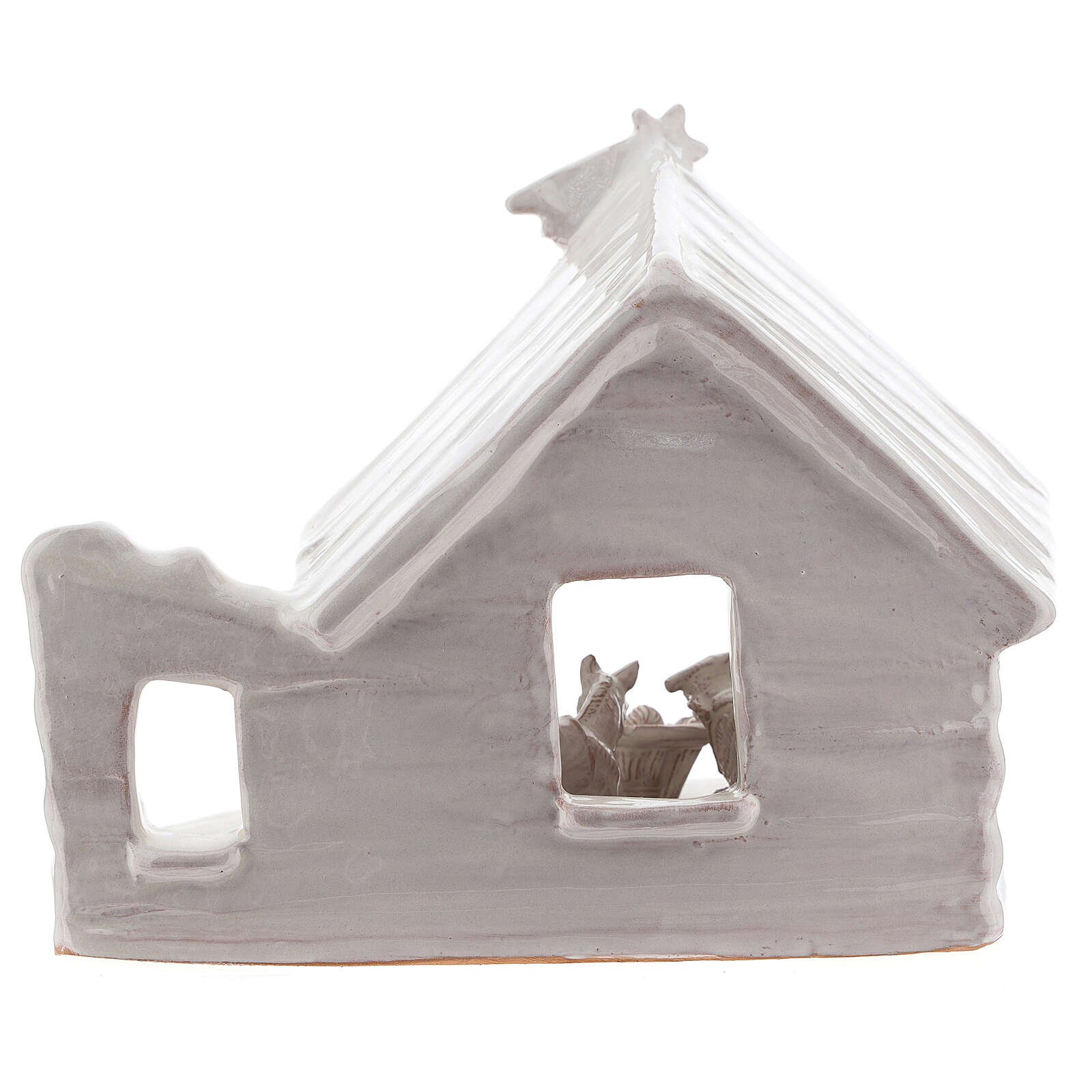 Northern Nativity hut in white Deruta terracotta 20 cm 4