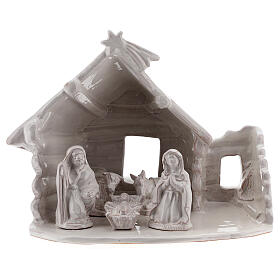 Northern Nativity hut in white Deruta terracotta 20 cm s1