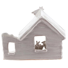 Northern Nativity hut in white Deruta terracotta 20 cm s4