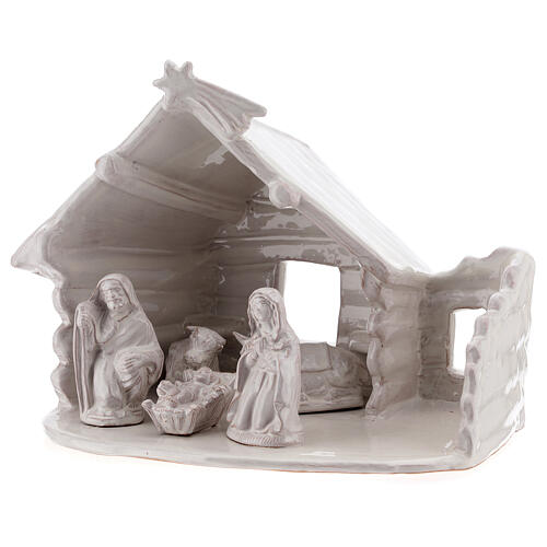 Northern Nativity hut in white Deruta terracotta 20 cm 2