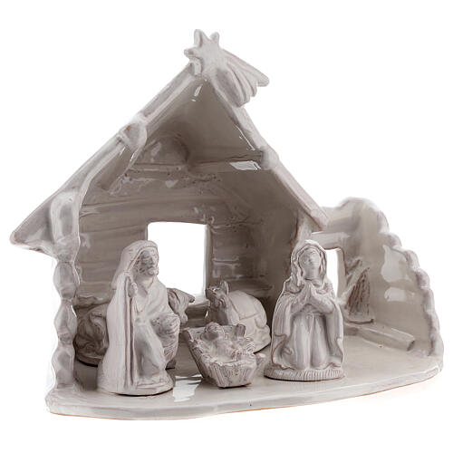 Northern Nativity hut in white Deruta terracotta 20 cm 3