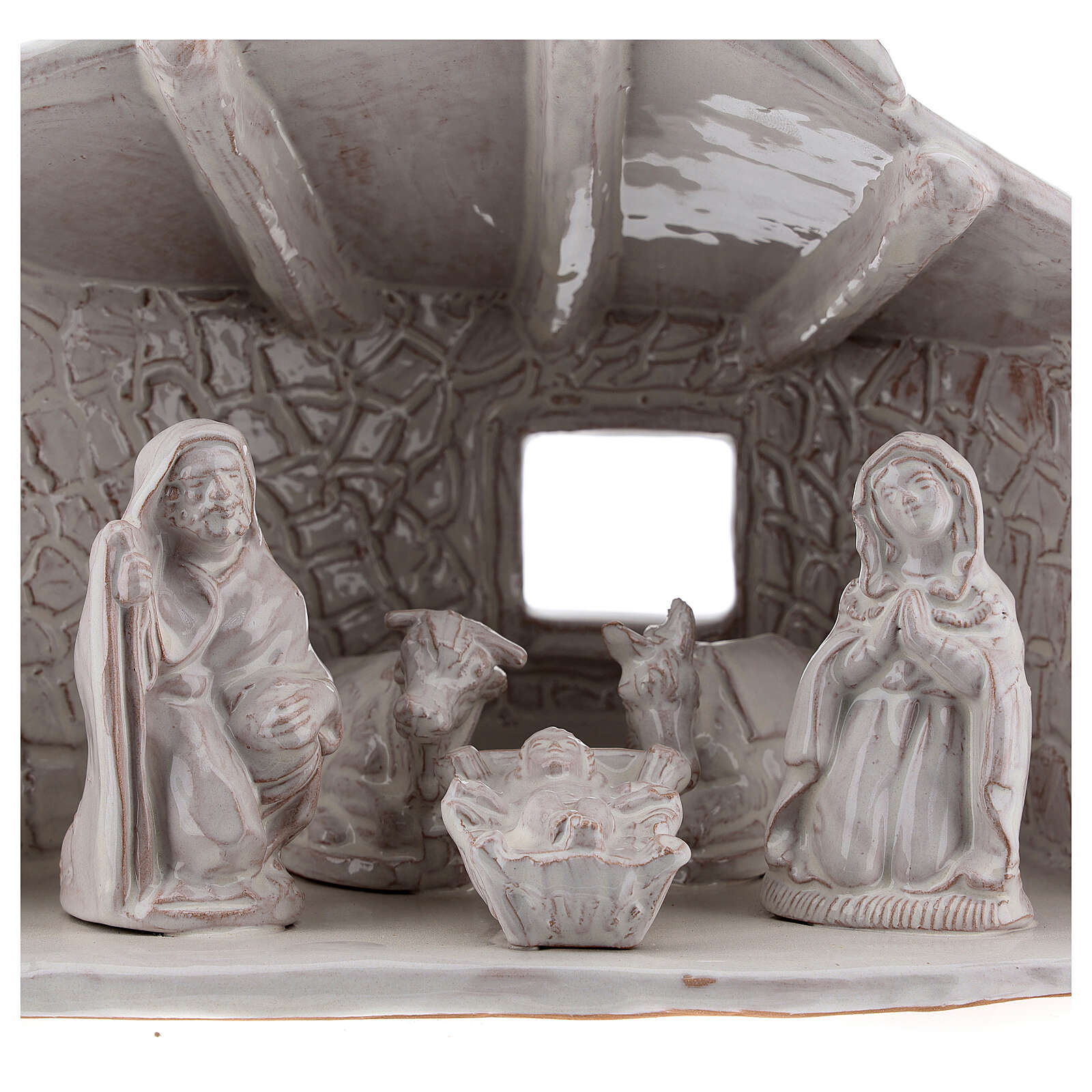 Nativity hut with beams in white Deruta terracotta 20 cm 4