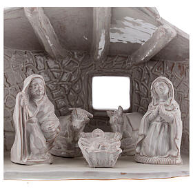 Nativity hut with beams in white Deruta terracotta 20 cm s2