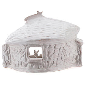 Nativity hut with beams in white Deruta terracotta 20 cm s6