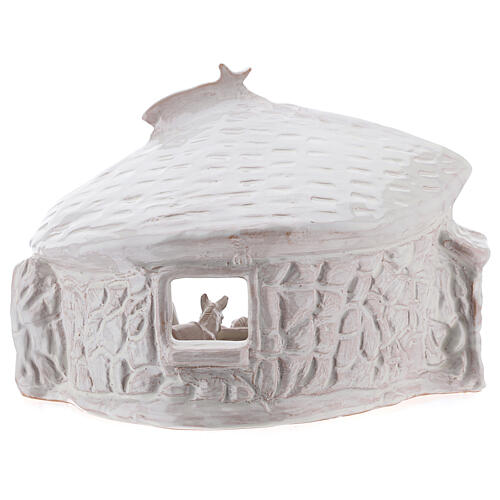 Nativity hut with beams in white Deruta terracotta 20 cm 6