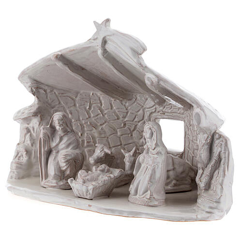Cabaña Sagrada Familia vigas paredes de piedra terracota blanca Deruta 20 cm 3