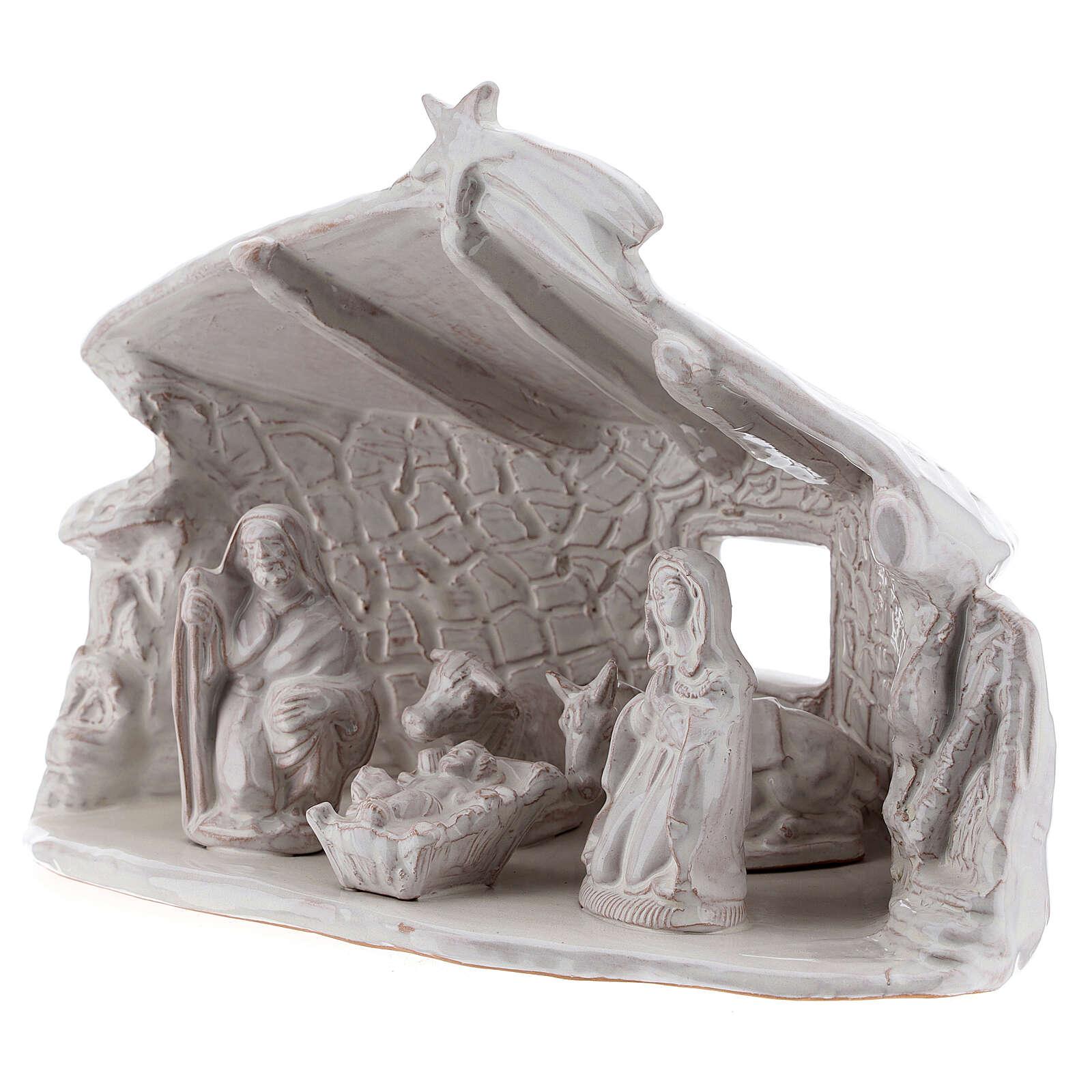 Cabane Sainte Famille poutres murs en pierre terre cuite blanche Deruta 20 cm 4