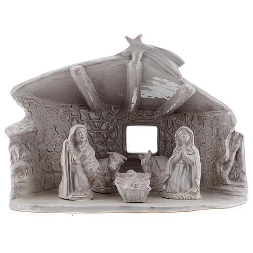 Cabane Sainte Famille poutres murs en pierre terre cuite blanche Deruta 20 cm 1