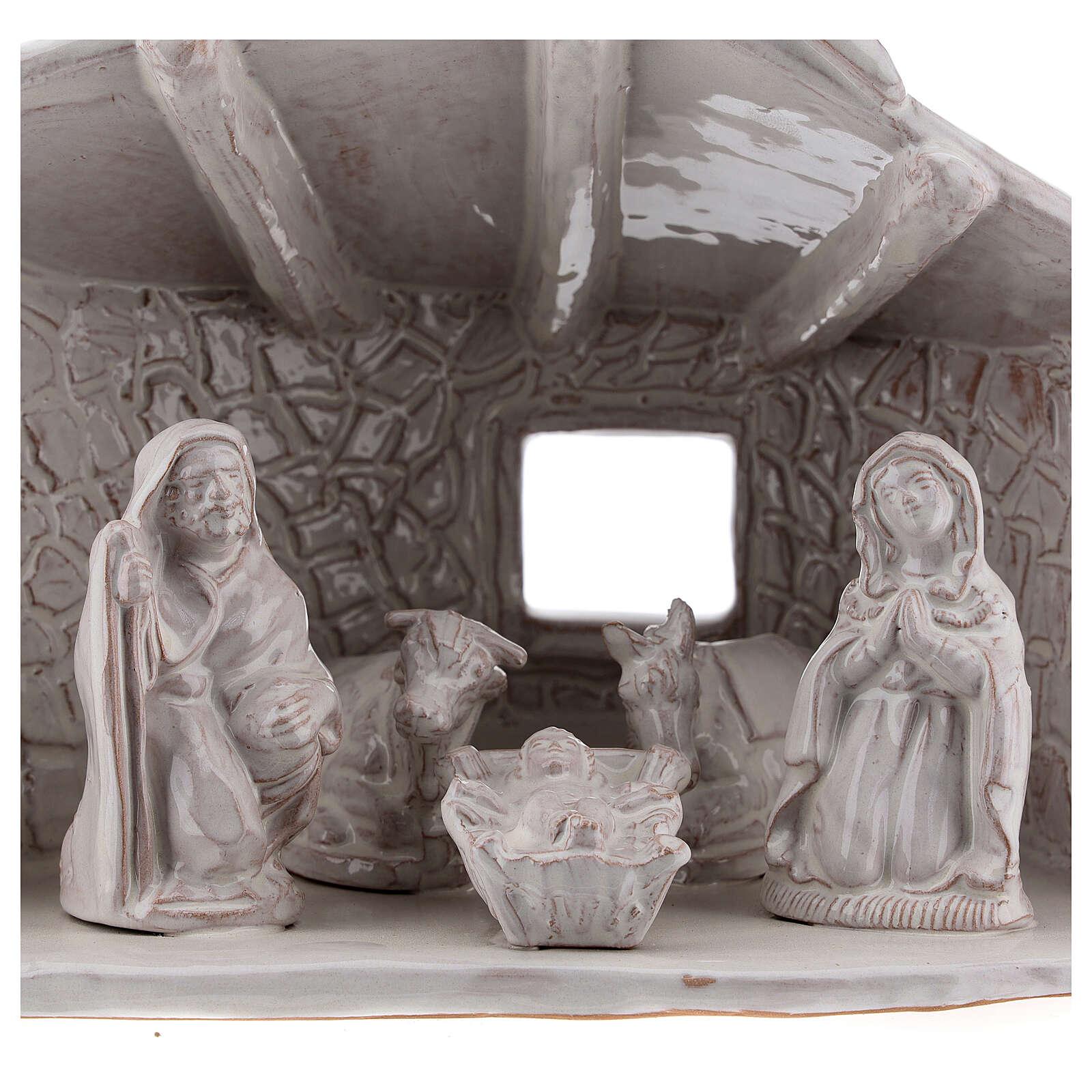 Capanna Sacra Famiglia travi muri in sasso terracotta bianca Deruta 20 cm 4