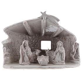 Capanna Sacra Famiglia travi muri in sasso terracotta bianca Deruta 20 cm s1