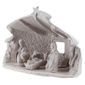 Capanna Sacra Famiglia travi muri in sasso terracotta bianca Deruta 20 cm s3