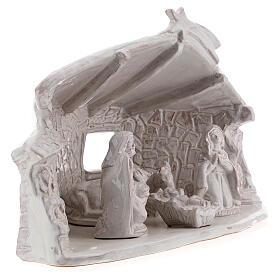 Capanna Sacra Famiglia travi muri in sasso terracotta bianca Deruta 20 cm s4