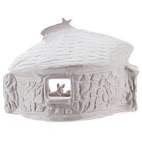 Capanna Sacra Famiglia travi muri in sasso terracotta bianca Deruta 20 cm s6