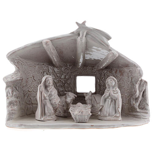 Capanna Sacra Famiglia travi muri in sasso terracotta bianca Deruta 20 cm 1