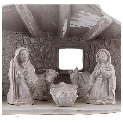 Capanna Sacra Famiglia travi muri in sasso terracotta bianca Deruta 20 cm 2