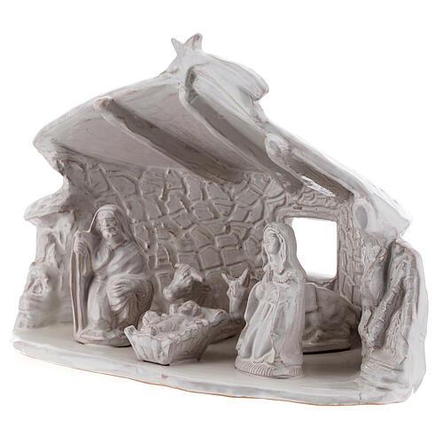 Capanna Sacra Famiglia travi muri in sasso terracotta bianca Deruta 20 cm 3