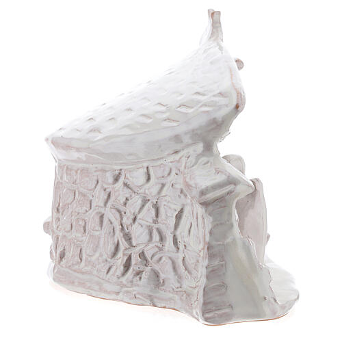 Capanna Sacra Famiglia travi muri in sasso terracotta bianca Deruta 20 cm 5