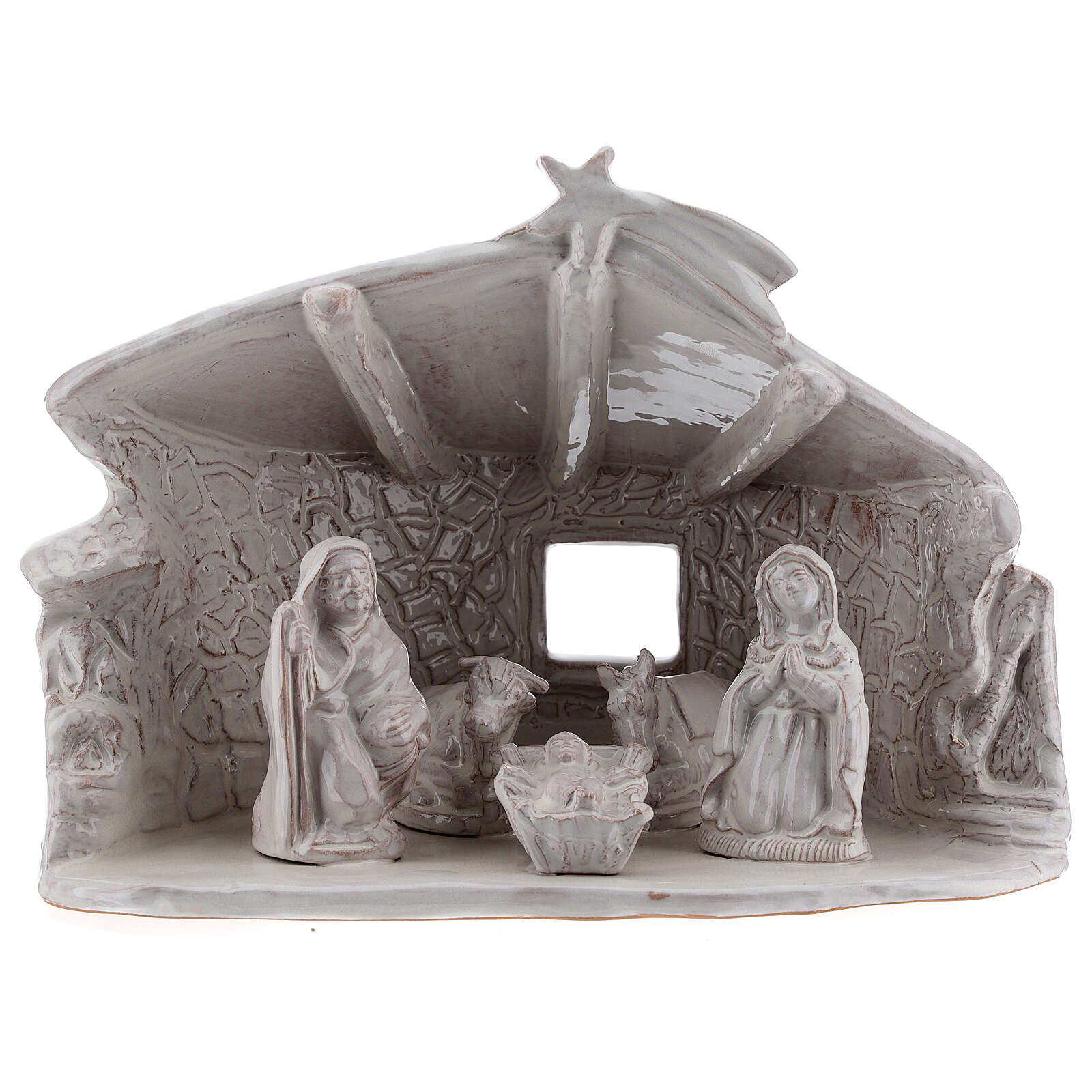 Stable with Holy Family stone wall beams white Deruta terracotta 20 cm 4