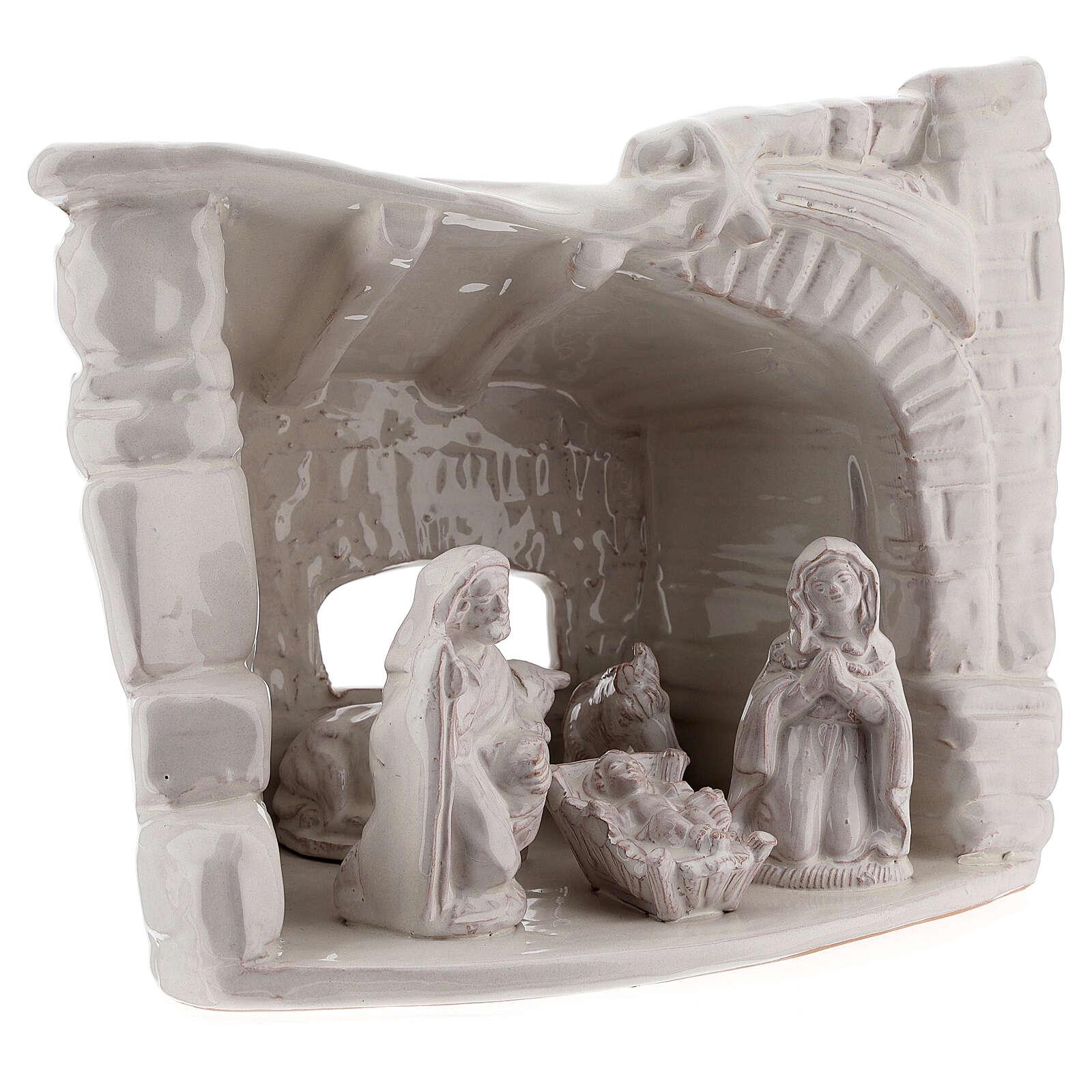 Cabaña natividad piedra medio arco terracota blanca Deruta 20 cm 4