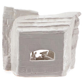 Cabaña natividad piedra medio arco terracota blanca Deruta 20 cm s4