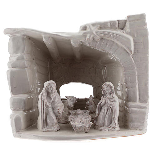 Cabaña natividad piedra medio arco terracota blanca Deruta 20 cm 1