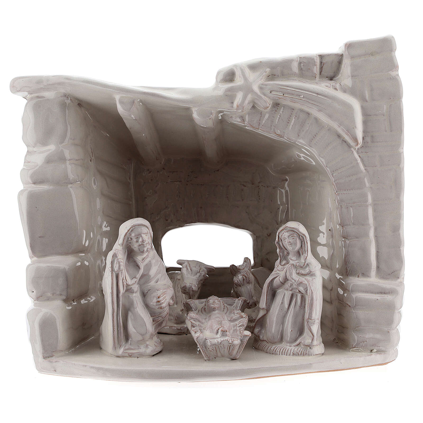 Capanna natività sasso mezza arcata terracotta bianca Deruta 20 cm 4
