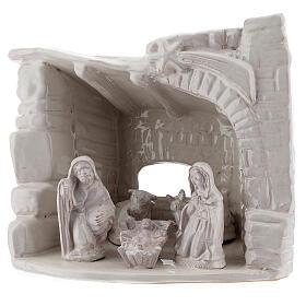Capanna natività sasso mezza arcata terracotta bianca Deruta 20 cm s2