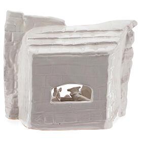 Capanna natività sasso mezza arcata terracotta bianca Deruta 20 cm s4