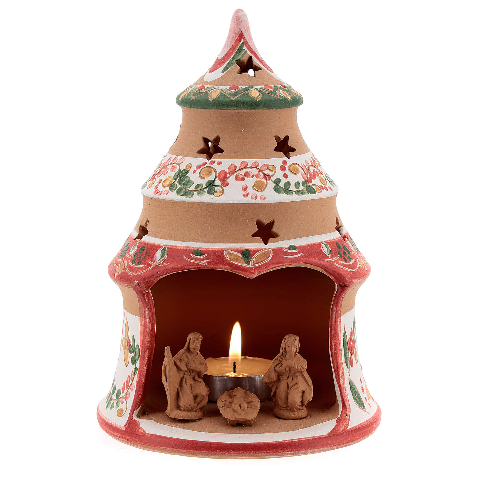Country red tree with statues in Deruta terracotta with light 15 cm 4