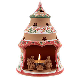 Country red tree with statues in Deruta terracotta with light 15 cm s1