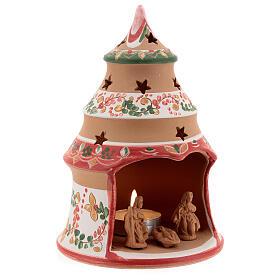 Alberello natività country rosso Sacra Famiglia terracotta naturale Deruta 15 cm s3
