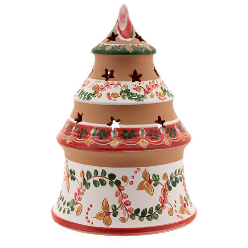 Alberello natività country rosso Sacra Famiglia terracotta naturale Deruta 15 cm 4
