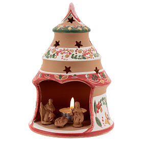 Christmas tree candle holder red Holy Family natural Deruta terracotta 15 cm s2