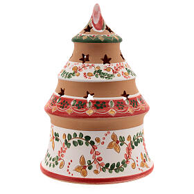 Christmas tree candle holder red Holy Family natural Deruta terracotta 15 cm s4