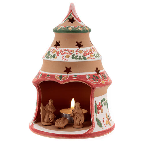 Christmas tree candle holder red Holy Family natural Deruta terracotta 15 cm 2