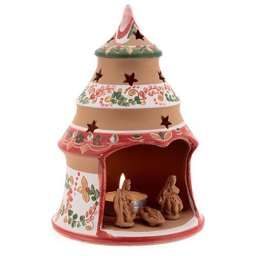 Christmas tree candle holder red Holy Family natural Deruta terracotta 15 cm 3