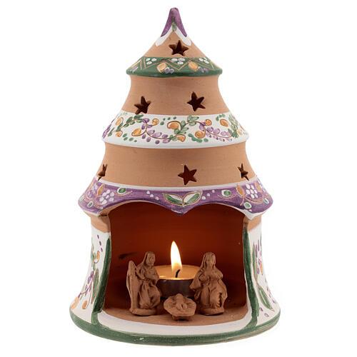 Sapin miniature Nativité lilas terre cuite naturelle Deruta 15 cm 1