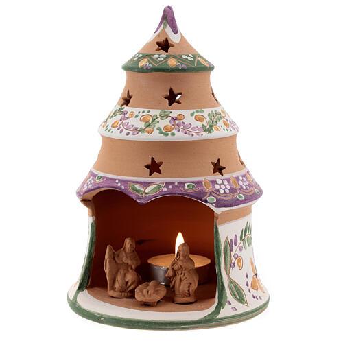Christmas tree mini Nativity lilac natural terracotta Deruta 15 cm 2