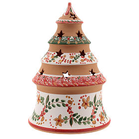 Red country tree with statues in Deruta terracotta with light 20 cm s4