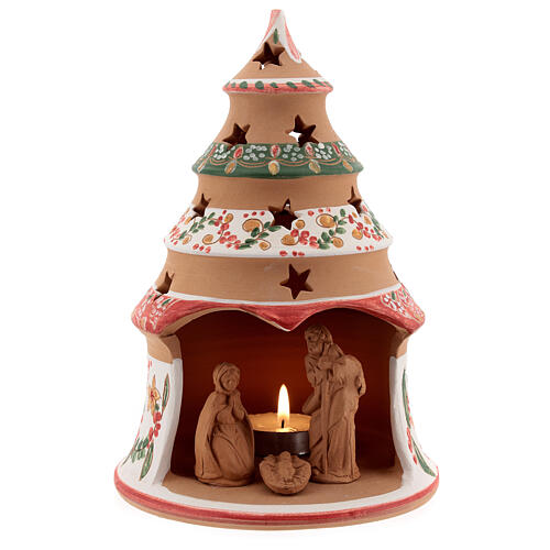 Red country tree with statues in Deruta terracotta with light 20 cm 1