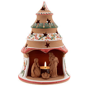 Christmas tree with mini Holy Family terracotta country red 20 cm s1