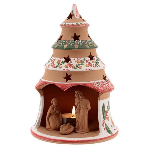 Christmas tree with mini Holy Family terracotta country red 20 cm 2