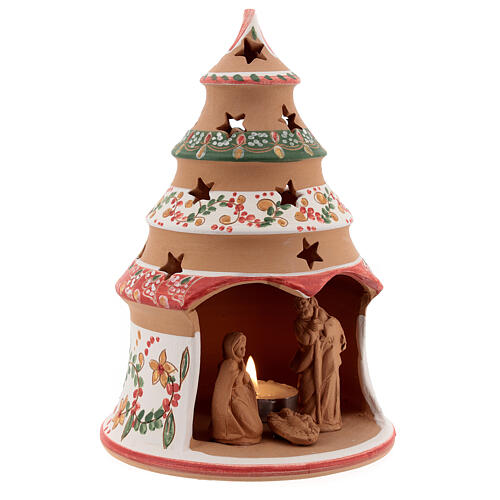 Christmas tree with mini Holy Family terracotta country red 20 cm 3